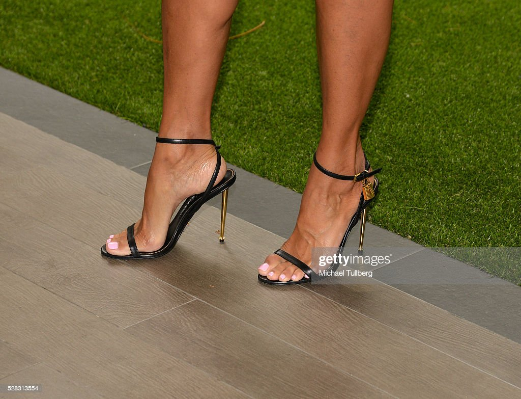 TV host Nicole Murphy, shoe detail, attend the Associates For Breast and Prostate Cancer Studies' annual Mother's Day Luncheon at Four Seasons Hotel Los Angeles at Beverly Hills on May 4, 2016 in Los Angeles, California.