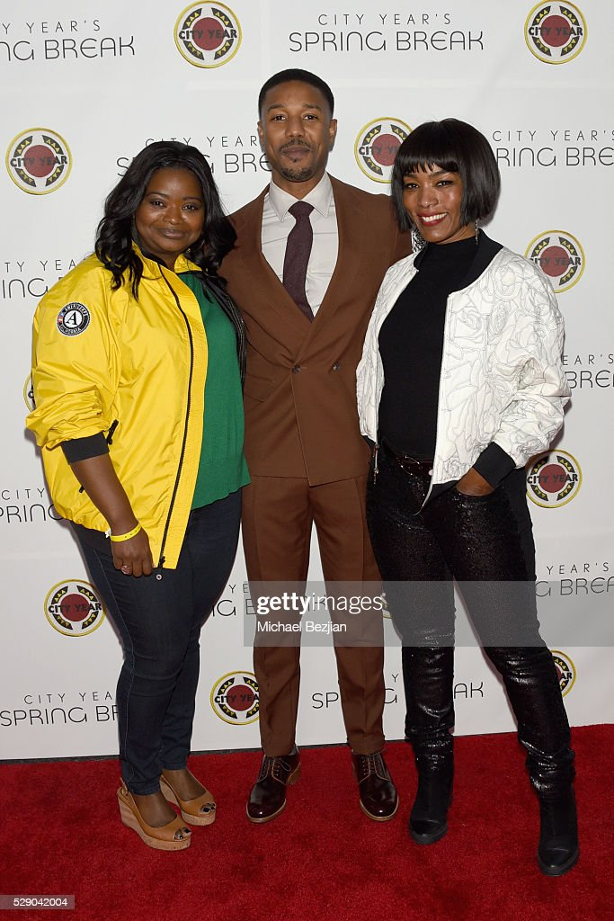 Host Octavia Spencer actors Michael B Jordan and Angela Bassett attend City Year Los Angeles Spring Break Event at Sony Studios on May 7 2016 in Los...