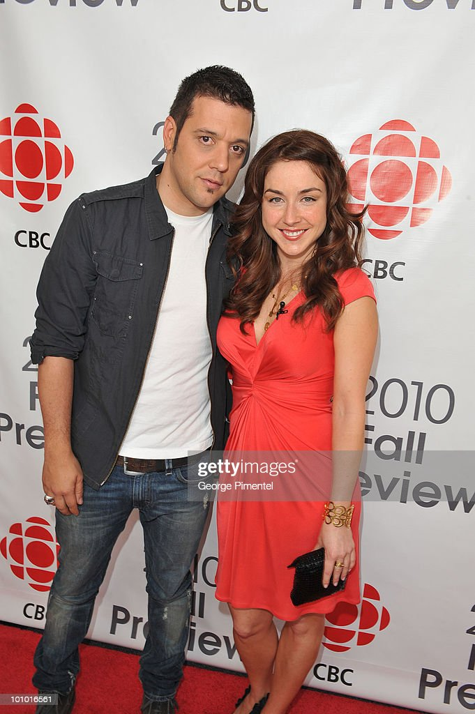 Host of 'The Hour' George Stroumboulopoulos and actress Erin Karpluk attend CBC Television 2010 Fall Preview at the CBC Broadcast Centre on May 27, 2010 in Toronto, Canada.
