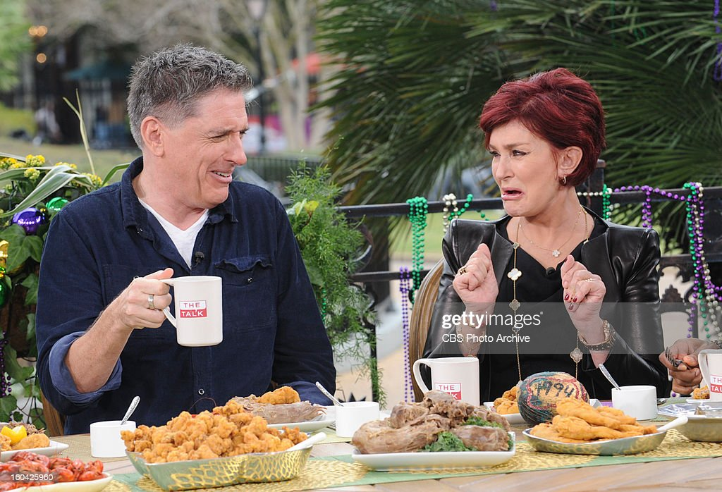Host of THE LATE LATE SHOW with <a gi-track='captionPersonalityLinkClicked' href=/galleries/search?phrase=Craig+Ferguson+-+Talk+Show+Host&family=editorial&specificpeople=204509 ng-click='$event.stopPropagation()'>Craig Ferguson</a>, joined by his 'horse' Secretariat, provides the ladies with some laughs on THE TALK in New Orleans, Tuesday, January 29, 2013 from CBS Super Bowl Park at Jackson Square in the heart of the historic French Quarter. <a gi-track='captionPersonalityLinkClicked' href=/galleries/search?phrase=Craig+Ferguson+-+Talk+Show+Host&family=editorial&specificpeople=204509 ng-click='$event.stopPropagation()'>Craig Ferguson</a>, left, and <a gi-track='captionPersonalityLinkClicked' href=/galleries/search?phrase=Sharon+Osbourne&family=editorial&specificpeople=203094 ng-click='$event.stopPropagation()'>Sharon Osbourne</a>, shown.