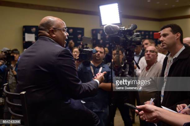 Host of the Olympics on NBC Mike Tirico addresses the media during the Team USA Media Summit ahead of the PyeongChang 2018 Olympic Winter Games on...