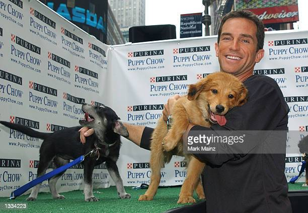 Host of the television program 'Survivor' Jeff Probst attends the 'Puppy Chow Patrol on the Island of Adoptable Puppies' in Time Square August 13...