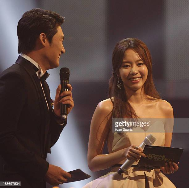 Host Oh SangJin and Kim AJoong speak during 49th Paeksang Arts Awards at Grand Peace Palace in Kyung Hee University on May 9 2013 in Seoul South Korea