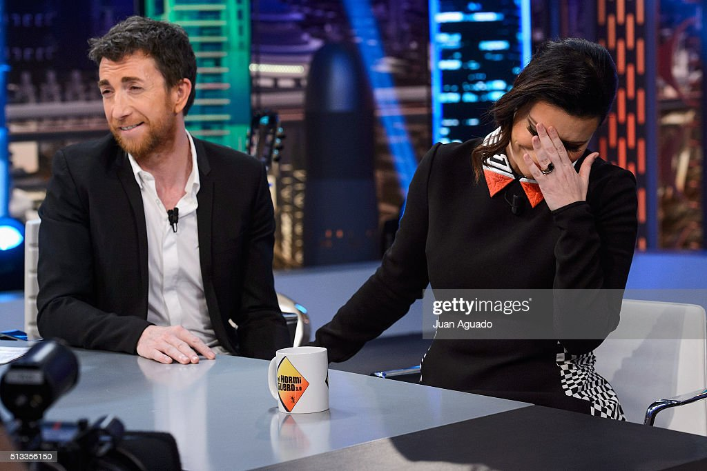TV Host Pablo Motos (L) and Laura Pausini (R) attend 'El Hormiguero' TV Show at Vertice Studios on March 2, 2016 in Madrid, Spain.
