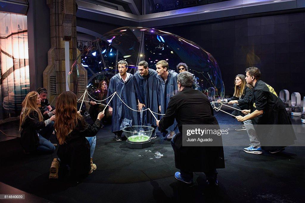 TV Host Pablo Motos football players of Atletico de Madrid Jorge Resurreccion aka Koke and Antoine Griezmann attend 'El Hormiguero' TV Show at...