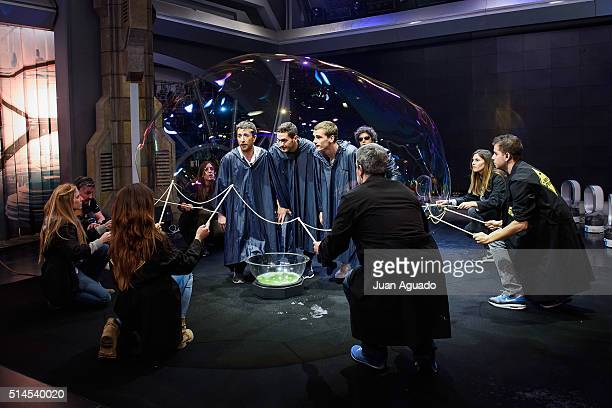 TV Host Pablo Motos football players of Atletico de Madrid Jorge Resurreccion aka Koke and Antoine Griezmann attend 'El Hormiguero' TV Show at...