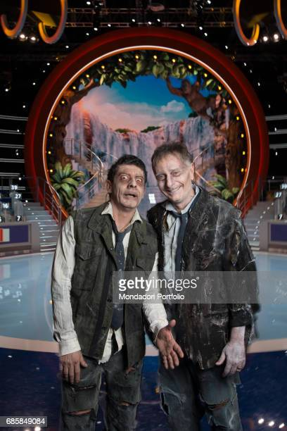 TV host Paolo Bonolis and TV personality and singer Luca Laurenti dressed as zombies at the beginning of the first episode of the seventh edition of...