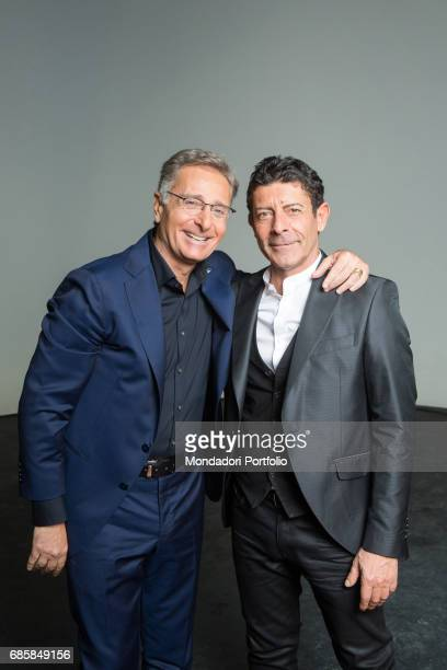 TV host Paolo Bonolis and TV personality and singer Luca Laurenti in the backstage of the seventh edition of Ciao Darwin Rome Italy 3rd March 2016