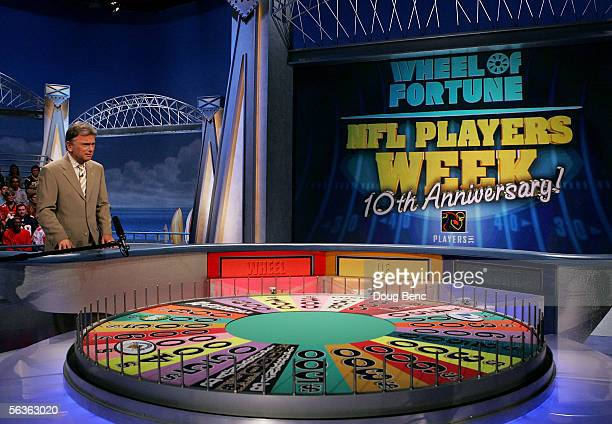 Host Pat Sajak performs during taping of the NFL Players Week 10th Anniversary on Wheel Of Fortune on December 6 2005 in Fort Lauderdale Florida