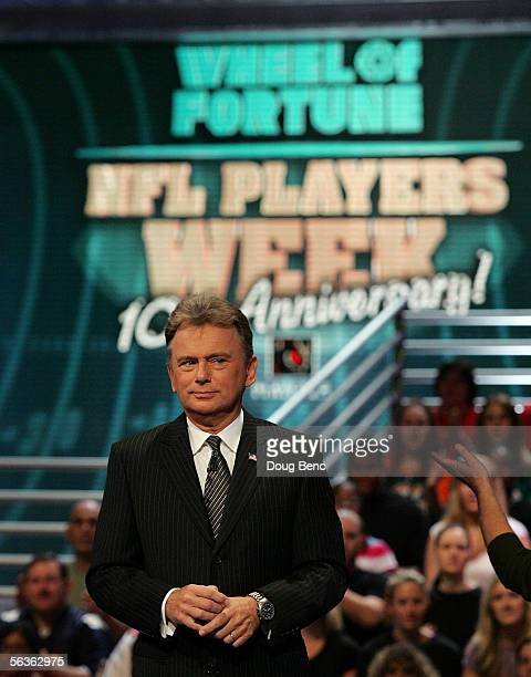 Host Pat Sajak performs during the NFL Players Week 10th Anniversary on Wheel Of Fortune on December 6 2005 in Fort Lauderdale Florida
