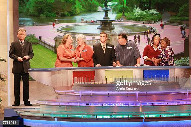 Host Pat Sajak Tara Carroll Paula Deen James Thompson actor Steve Schirripa Joy Bryant and actress Sherri Shepherd during a taping of 'Wheel Of...