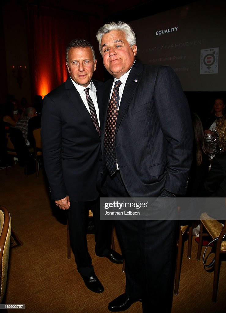 Host <a gi-track='captionPersonalityLinkClicked' href=/galleries/search?phrase=Paul+Reiser&family=editorial&specificpeople=217295 ng-click='$event.stopPropagation()'>Paul Reiser</a> and <a gi-track='captionPersonalityLinkClicked' href=/galleries/search?phrase=Jay+Leno+-+Television+Host&family=editorial&specificpeople=156431 ng-click='$event.stopPropagation()'>Jay Leno</a> attend Equality Now presents 'Make Equality Reality' at Montage Hotel on November 4, 2013 in Los Angeles, California.