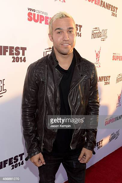 Host Pete Wentz attends the Vevo CERTIFIED SuperFanFest presented by Honda Stage at Barkar Hangar on October 8 2014 in Santa Monica California