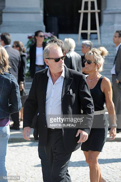 TV host Philippe Risoli is seen after attending the funeral ceremony for French cycling champion Laurent Fignon on September 3 2010 at the Pere...