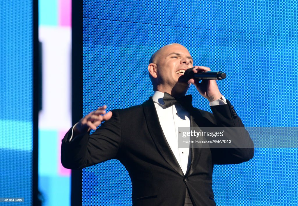 Host Pitbull speaks onstage during the 2013 American Music Awards at Nokia Theatre L.A. Live on November 24, 2013 in Los Angeles, California.
