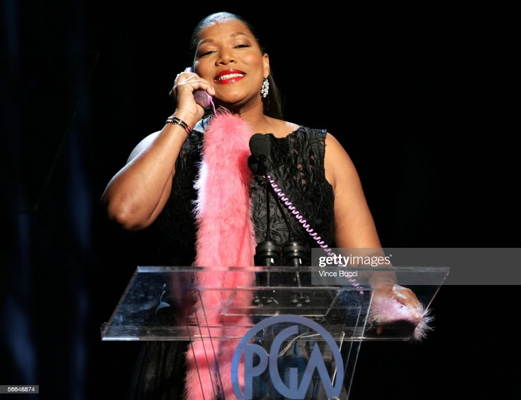 Host Queen Latifah onstage during the 2006 Producers Guild awards held at the Universal Hilton on January 22 2006 in Universal City California
