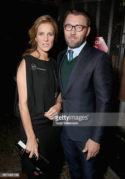 Host Rachel Griffiths and actor Joel Edgerton attend the 5th AACTA International Awards at Avalon Hollywood on January 29 2016 in Los Angeles United...