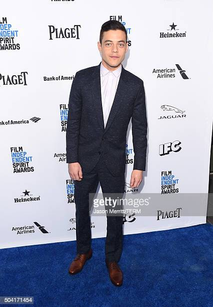 Host Rami Malek attends 2016 Film Independent Filmmaker Grant and Spirit Award Nominees Brunch at BOA Steakhouse on January 9 2016 in West Hollywood...