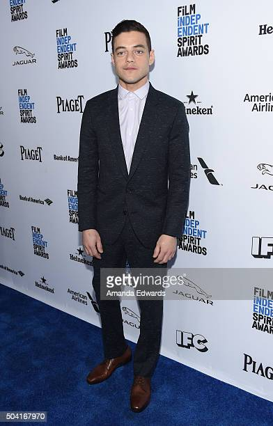 Host Rami Malek attends the 2016 Film Independent Filmmaker Grant and Spirit Award Nominees Brunch at BOA Steakhouse on January 9 2016 in West...