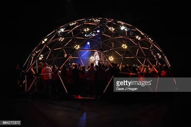 Host Rebecca Dudley at MTV Live Stage at ExCel on June 9 2017 in London England MTV Live Stage is a new music series that puts the artist at the...