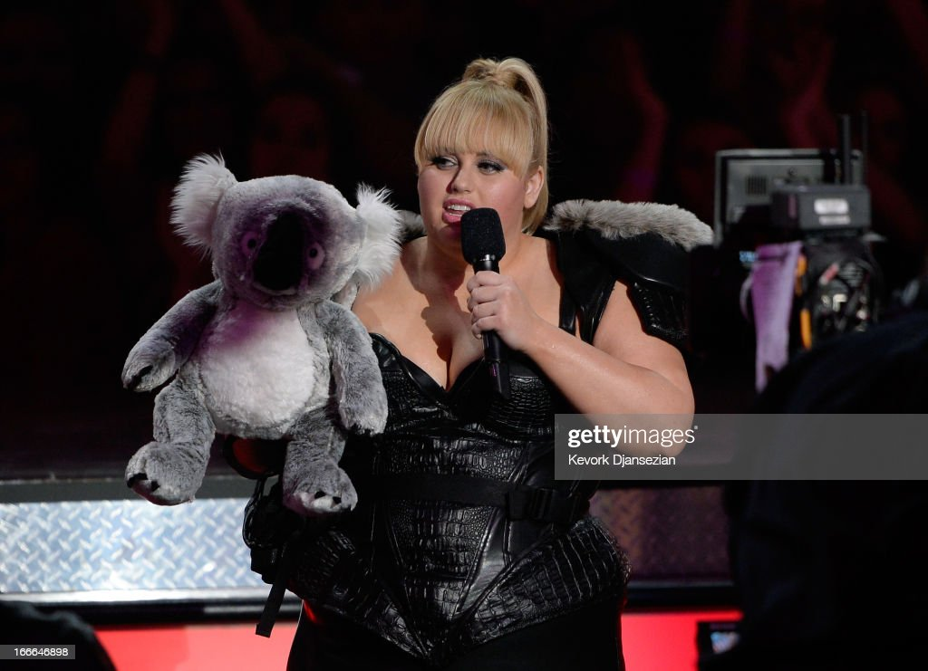 Host Rebel Wilson speaks onstage during the 2013 MTV Movie Awards at Sony Pictures Studios on April 14, 2013 in Culver City, California.