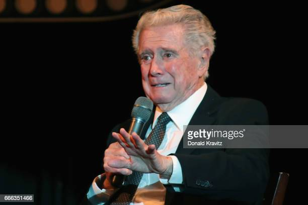 Host Regis Philbin asks an on stage question at The Mr Mature America Pageant held at Ocean City Music Pier on April 8 2017 in Ocean City New Jersey