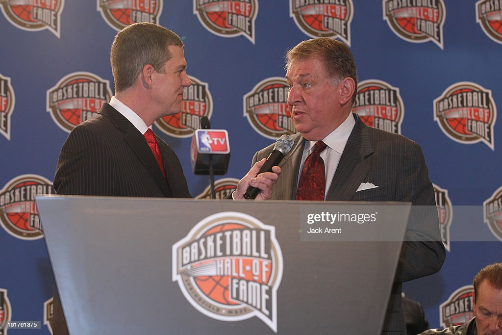 Host Rick Kamla interviews <a gi-track='captionPersonalityLinkClicked' href=/galleries/search?phrase=Jerry+Colangelo&family=editorial&specificpeople=216503 ng-click='$event.stopPropagation()'>Jerry Colangelo</a> at the Hall of Fame press conference during of the 2013 NBA All-Star Weekend at the Hilton Americas Hotel on February 15, 2013 in Houston, Texas.