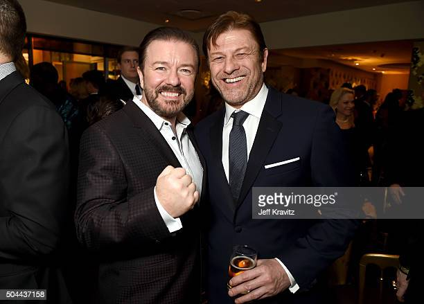 Host Ricky Gervais and actor Sean Bean attend HBO's Official Golden Globe Awards After Party at The Beverly Hilton Hotel on January 10 2016 in...