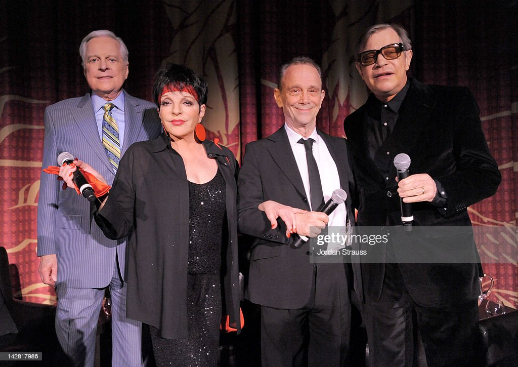 TCM host Robert Osborne actress/singer Liza Minnelli and actors Joel Grey and Michael York attend the 2012 TCM Classic Film Festival Opening Night...