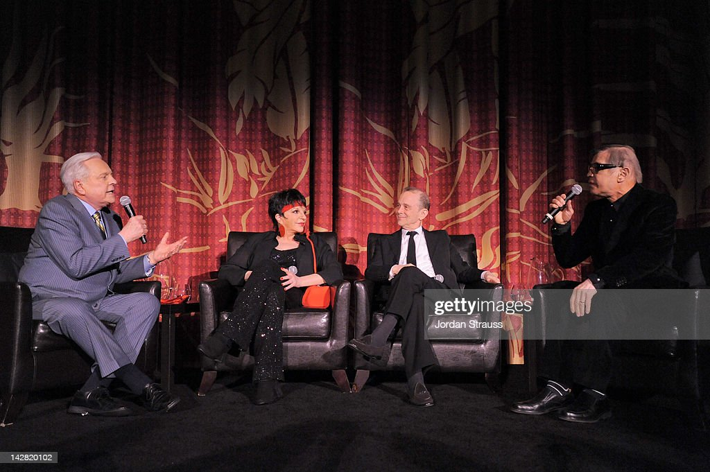 TCM Host Robert Osborne actress/singer Liza Minnelli and actors Joel Grey and Michael York speak onstage at the 2012 TCM Classic Film Festival...