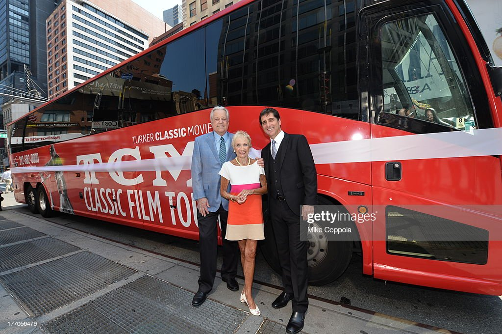 TCM host Robert Osborne (L) is joined by actress Jane Powell (C) and Dennis Adamovich (R), Senior Vice President of digital, affiliate, lifestyle and enterprise commerce, TCM, TBS and TNT to launch the 'TCM Classic Film Tour' on August 20, 2013 in New York City. Featuring stops at some of the most famous movie locations throughout the city, this sightseeing bus tour opens to the public Thursday, Aug. 22, running Tuesdays, Thursdays and Saturdays, beginning at 11:30 a.m. The three-hour sightseeing bus tour will take movie fans to some of the city's greatest filming locations, including the Empire State Building (King Kong); Zabar's market (Manhattan, You've Got Mail); Holly Golightly's brownstone (Breakfast at Tiffany's); the famed subway grate that blew Marilyn Monroe's skirt (The Seven-Year Itch); Grand Central Terminal (North by Northwest, Superman); and, of course, Central Park. (Photo by Mike Coppola/WireImage) 23987_004_MC_ 0026.JPG Robert Osborne; Jane Powell; Dennis Adamovich