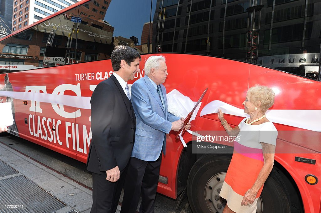 TCM host Robert Osborne (C) is joined by actress Jane Powell (R) and Dennis Adamovich (L), Senior Vice President of digital, affiliate, lifestyle and enterprise commerce, TCM, TBS and TNT to launch the 'TCM Classic Film Tour' on August 20, 2013 in New York City. Featuring stops at some of the most famous movie locations throughout the city, this sightseeing bus tour opens to the public Thursday, Aug. 22, running Tuesdays, Thursdays and Saturdays, beginning at 11:30 a.m. The three-hour sightseeing bus tour will take movie fans to some of the city's greatest filming locations, including the Empire State Building (King Kong); Zabar's market (Manhattan, You've Got Mail); Holly Golightly's brownstone (Breakfast at Tiffany's); the famed subway grate that blew Marilyn Monroe's skirt (The Seven-Year Itch); Grand Central Terminal (North by Northwest, Superman); and, of course, Central Park. (Photo by Mike Coppola/WireImage) 23987_004_MC_ 0057.JPG Robert Osborne; Jane Powell; Dennis Adamovich