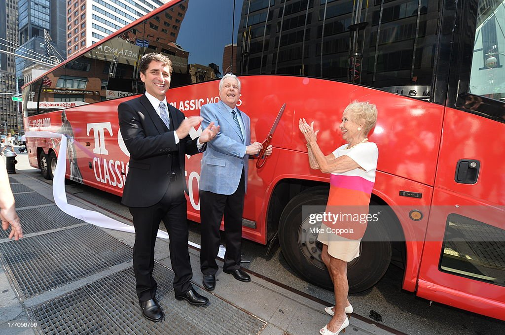 TCM host Robert Osborne (C) is joined by actress Jane Powell (R) and Dennis Adamovich (L), Senior Vice President of digital, affiliate, lifestyle and enterprise commerce, TCM, TBS and TNT to launch the 'TCM Classic Film Tour' on August 20, 2013 in New York City. Featuring stops at some of the most famous movie locations throughout the city, this sightseeing bus tour opens to the public Thursday, Aug. 22, running Tuesdays, Thursdays and Saturdays, beginning at 11:30 a.m. The three-hour sightseeing bus tour will take movie fans to some of the city's greatest filming locations, including the Empire State Building (King Kong); Zabar's market (Manhattan, You've Got Mail); Holly Golightly's brownstone (Breakfast at Tiffany's); the famed subway grate that blew Marilyn Monroe's skirt (The Seven-Year Itch); Grand Central Terminal (North by Northwest, Superman); and, of course, Central Park. (Photo by Mike Coppola/WireImage) 23987_004_MC_ 0061.JPG Robert Osborne; Jane Powell; Dennis Adamovich