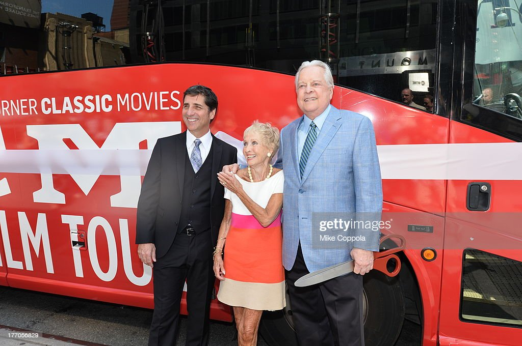 TCM host Robert Osborne (R) is joined by actress Jane Powell (C) and Dennis Adamovich (L), Senior Vice President of digital, affiliate, lifestyle and enterprise commerce, TCM, TBS and TNT to launch the 'TCM Classic Film Tour' on August 20, 2013 in New York City. Featuring stops at some of the most famous movie locations throughout the city, this sightseeing bus tour opens to the public Thursday, Aug. 22, running Tuesdays, Thursdays and Saturdays, beginning at 11:30 a.m. The three-hour sightseeing bus tour will take movie fans to some of the city's greatest filming locations, including the Empire State Building (King Kong); Zabar's market (Manhattan, You've Got Mail); Holly Golightly's brownstone (Breakfast at Tiffany's); the famed subway grate that blew Marilyn Monroe's skirt (The Seven-Year Itch); Grand Central Terminal (North by Northwest, Superman); and, of course, Central Park. (Photo by Mike Coppola/WireImage) 23987_004_MC_ 0021.JPG Robert Osborne; Jane Powell; Dennis Adamovich