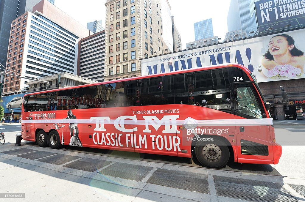 TCM host Robert Osborne is joined by actress Jane Powell to launch the 'TCM Classic Film Tour' on August 20, 2013 in New York City. Featuring stops at some of the most famous movie locations throughout the city, this sightseeing bus tour opens to the public Thursday, Aug. 22, running Tuesdays, Thursdays and Saturdays, beginning at 11:30 a.m. The three-hour sightseeing bus tour will take movie fans to some of the city's greatest filming locations, including the Empire State Building (King Kong); Zabar's market (Manhattan, You've Got Mail); Holly Golightly's brownstone (Breakfast at Tiffany's); the famed subway grate that blew Marilyn Monroe's skirt (The Seven-Year Itch); Grand Central Terminal (North by Northwest, Superman); and, of course, Central Park. (Photo by Mike Coppola/WireImage) 23987_004_MC_ 0003.JPG