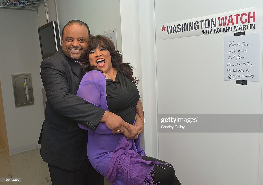 Host Roland Martin (L) and actress Jackée attend the taping of TV One's 'Washington Watch With Roland Martin' Hollywood Special at KCET Studios on January 31, 2013 in Hollywood, California.