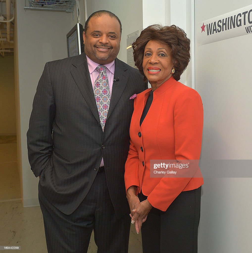 Host <a gi-track='captionPersonalityLinkClicked' href=/galleries/search?phrase=Roland+Martin&family=editorial&specificpeople=5490103 ng-click='$event.stopPropagation()'>Roland Martin</a> (L) and Congresswoman <a gi-track='captionPersonalityLinkClicked' href=/galleries/search?phrase=Maxine+Waters&family=editorial&specificpeople=220525 ng-click='$event.stopPropagation()'>Maxine Waters</a> attend the taping of TV One's 'Washington Watch With <a gi-track='captionPersonalityLinkClicked' href=/galleries/search?phrase=Roland+Martin&family=editorial&specificpeople=5490103 ng-click='$event.stopPropagation()'>Roland Martin</a>' Hollywood Special at KCET Studios on January 31, 2013 in Hollywood, California.