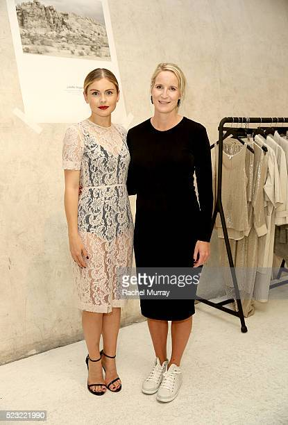 Host Rose Mciver wearing a Juliette Hogan design and Designer Juliette Hogan attend the Juliette Hogan SS16 showcase at NuSpace on April 21 2016 in...