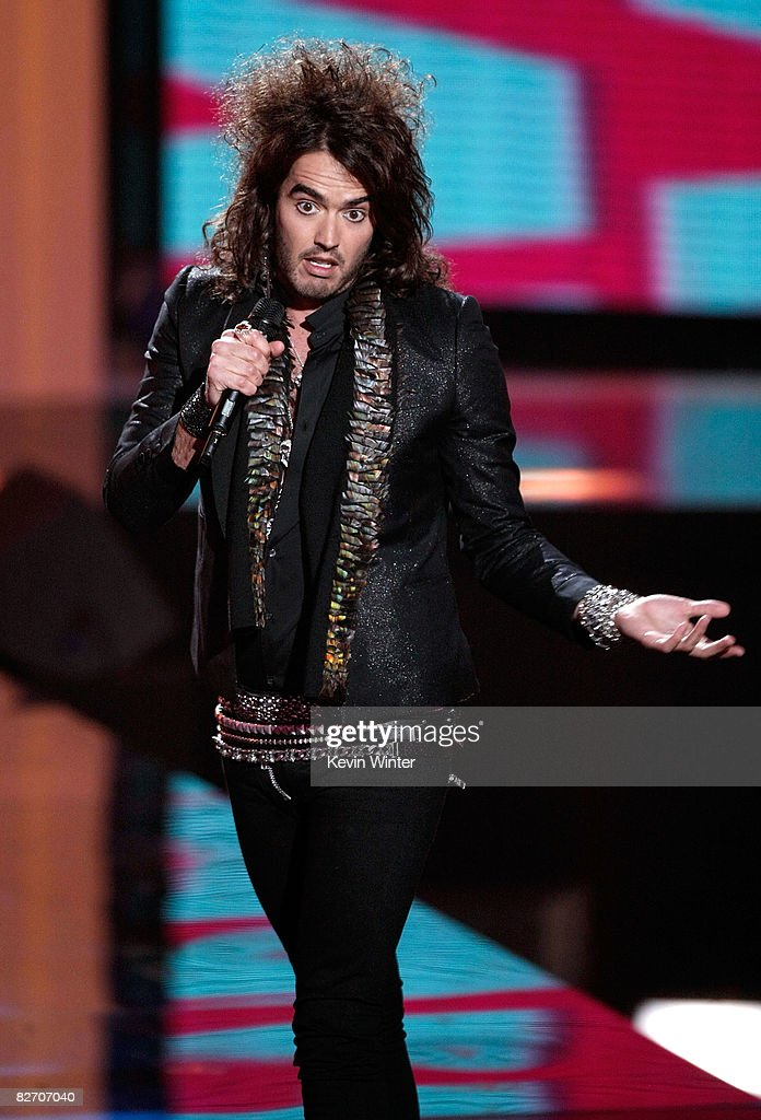 Host Russell Brand performs on stage at the 2008 MTV Video Music Awards at Paramount Pictures Studios on September 7 2008 in Los Angeles California