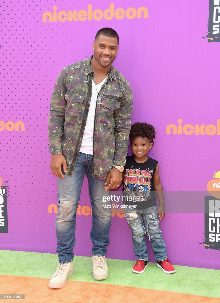 Host Russell Wilson (L) and Future Zahir Wilburn attend Nickelodeon Kids' Choice Sports Awards 2017 at Pauley Pavilion on July 13, 2017 in Los Angeles, California.