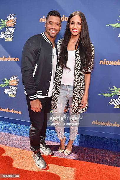 Host Russell Wilson and recording artist Ciara attend the Nickelodeon Kids' Choice Sports Awards 2015 at UCLA's Pauley Pavilion on July 16 2015 in...