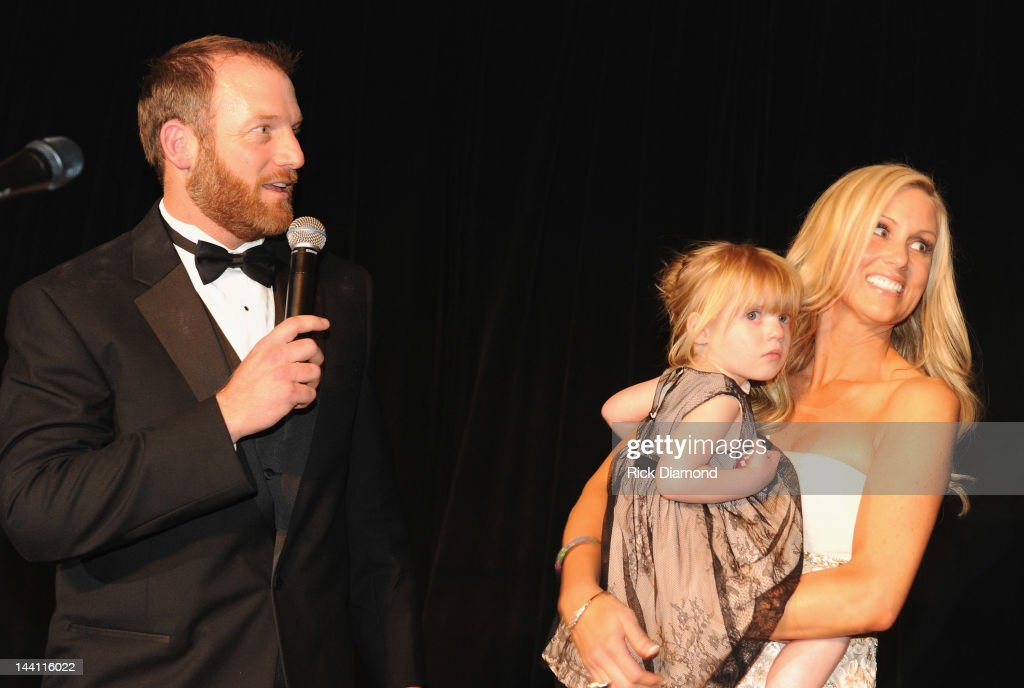 Host <a gi-track='captionPersonalityLinkClicked' href=/galleries/search?phrase=Ryan+Dempster&family=editorial&specificpeople=211606 ng-click='$event.stopPropagation()'>Ryan Dempster</a>, daughter Riley Dempster and Jenn Dempster during the 2012 Dempster Foundation casino night at Palmer House Hotel on May 9, 2012 in Chicago, Illinois.