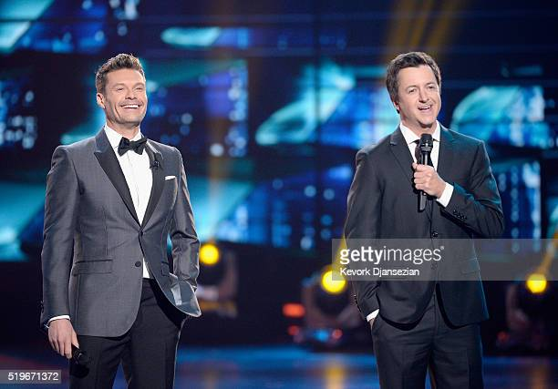 Host Ryan Seacrest and Brian Dunkleman speak onstage during FOX's 'American Idol' Finale For The Farewell Season at Dolby Theatre on April 7 2016 in...