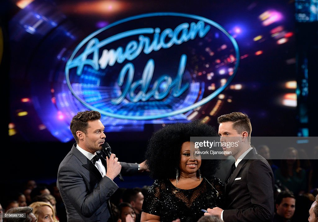 Host Ryan Seacrest and finalists La'Porsha Renae and Trent Harmon speak onstage during FOX's 'American Idol' Finale For The Farewell Season at Dolby Theatre on April 7, 2016 in Hollywood, California. at Dolby Theatre on April 7, 2016 in Hollywood, California.