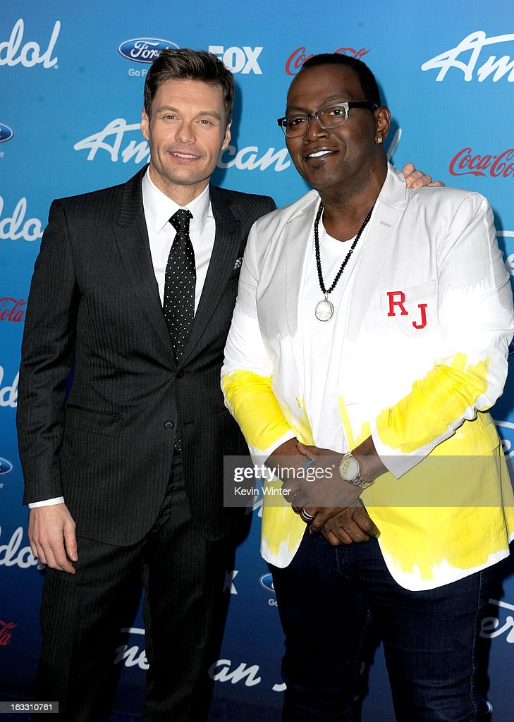 Host <a gi-track='captionPersonalityLinkClicked' href=/galleries/search?phrase=Ryan+Seacrest&family=editorial&specificpeople=201694 ng-click='$event.stopPropagation()'>Ryan Seacrest</a> (L) and judge Randy Jackson attend the FOX 'American Idol' finalists party at The Grove on March 7, 2013 in Los Angeles, California.