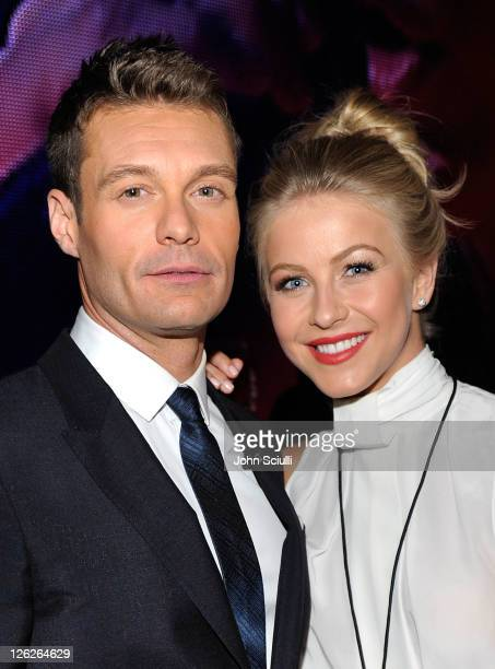 Host Ryan Seacrest and tv personality Julianne Hough pose in the VIP Lounge at the iHeartRadio Music Festival held at the MGM Grand Garden Arena on...