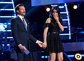 Host Ryan Seacrest announces eliminated contestant Sonika Vaid onstage at FOX's American Idol Season 15 on March 24 2016 in Hollywood California