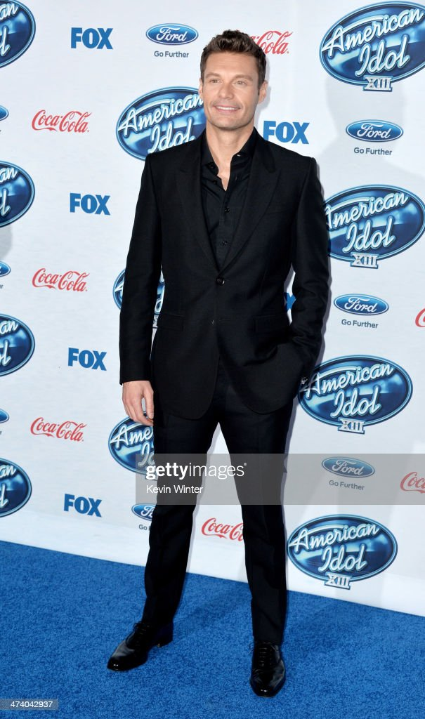 Host <a gi-track='captionPersonalityLinkClicked' href=/galleries/search?phrase=Ryan+Seacrest&family=editorial&specificpeople=201694 ng-click='$event.stopPropagation()'>Ryan Seacrest</a> arrives at Fox's 'American Idol Xlll' Finalists Party at Fig and Olive on February 20, 2014 in West Hollywood, California.