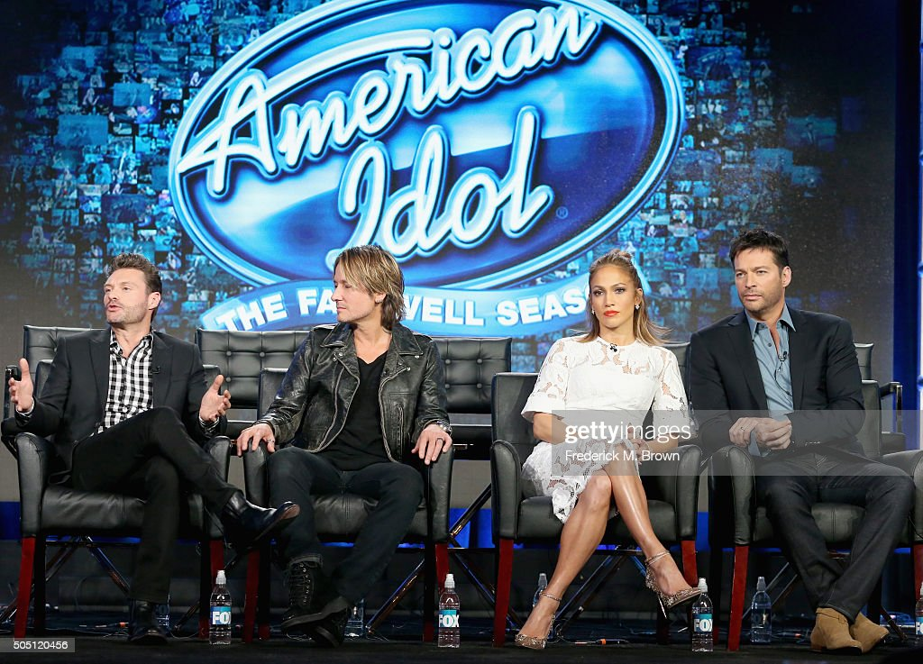 Host Ryan Seacrest, Judge Keith Urban, Judge Jennifer Lopez and Judge Harry Connick, Jr. speak onstage during the 'American Idol' panel discussion at the FOX portion of the 2015 Winter TCA Tour at the Langham Huntington Hotel on January 15, 2016 in Pasadena, California