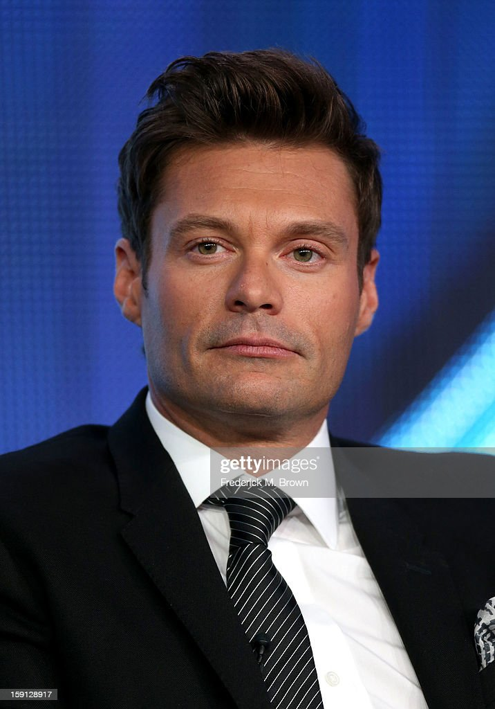 Host <a gi-track='captionPersonalityLinkClicked' href=/galleries/search?phrase=Ryan+Seacrest&family=editorial&specificpeople=201694 ng-click='$event.stopPropagation()'>Ryan Seacrest</a> of 'American Idol' speaks onstage during the FOX portion of the 2013 Winter TCA Tour at Langham Hotel on January 8, 2013 in Pasadena, California.